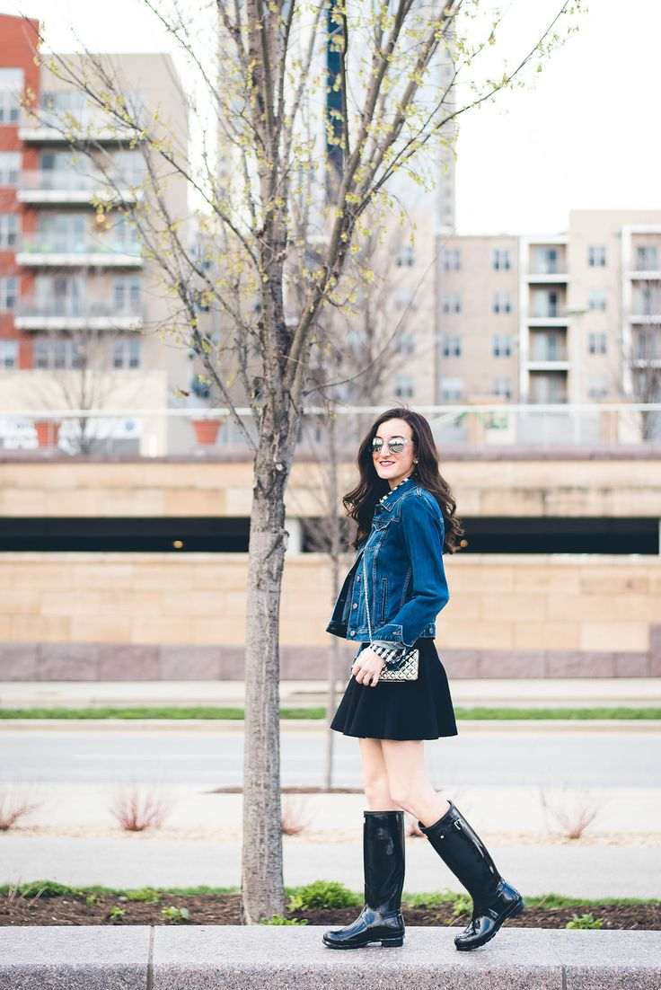 How To Style Hunter Boots. How to wear rain boots. Black Hunter boots http://baublestobubbles.com/2017/05/03/hunter-boots-black-gloss/?utm_campaign=coschedule&utm_source=pinterest&utm_medium=Olivia%20Johnson%20-%20Baubles%20to%20Bubbles&utm_content=Black%20Wellies