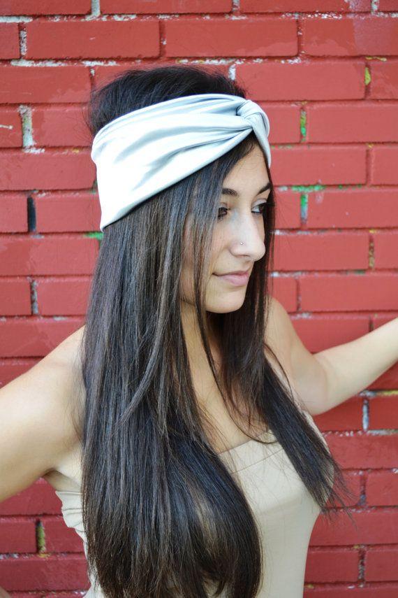 Silver Jersey Headband Turban Grey Bandana by HeavensShop on Etsy, €12.00