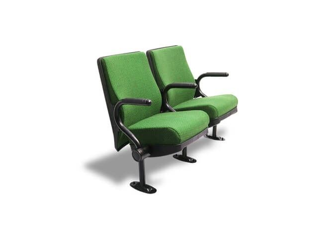 The Sentinel movie theater chairs is a beautifully streamlined chair with an all-purpose design. This chair features a no-nonsense, wide rectangular seat back which can match any theater decor scheme; simply choose the best color to fit your individual taste. Both the seat and armrests are fixed, with the armrests gracefully curving upward from the bottom in a modernist tubuluar design.