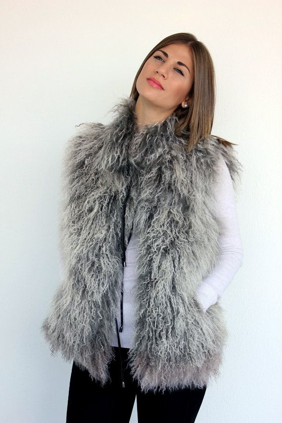 Sleeveless women's jacket made with lightweight Mongolian lamb fur (in Grey and White). Really soft and warm