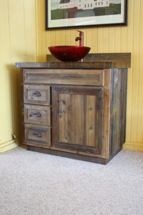 Cedar-Barnwood-Log-Cabin-Lodge-Bathroom-Vanity-Epoxy-Top 36 inch