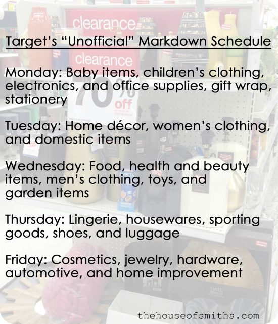 Target Clearance Schedule from TheHouseofSmiths.com #shopping #target #clearance