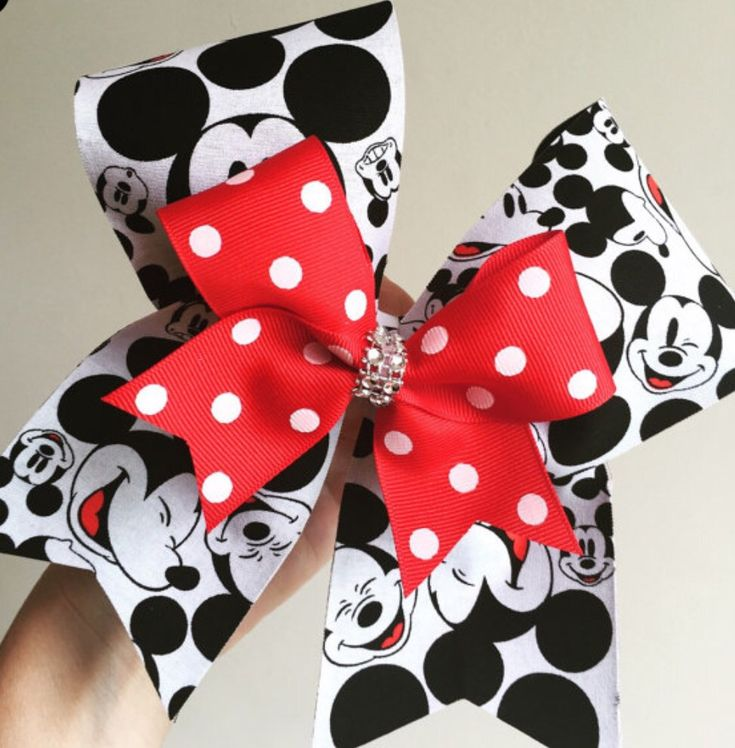 Mickey Face deluxe Cheer Bow With Red and White Polka Dit Mini Bow
