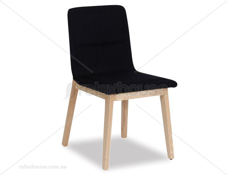 Vasco Scandinavian Timber Dining Chair - Natural American Ash - Black Linen Seat Pad