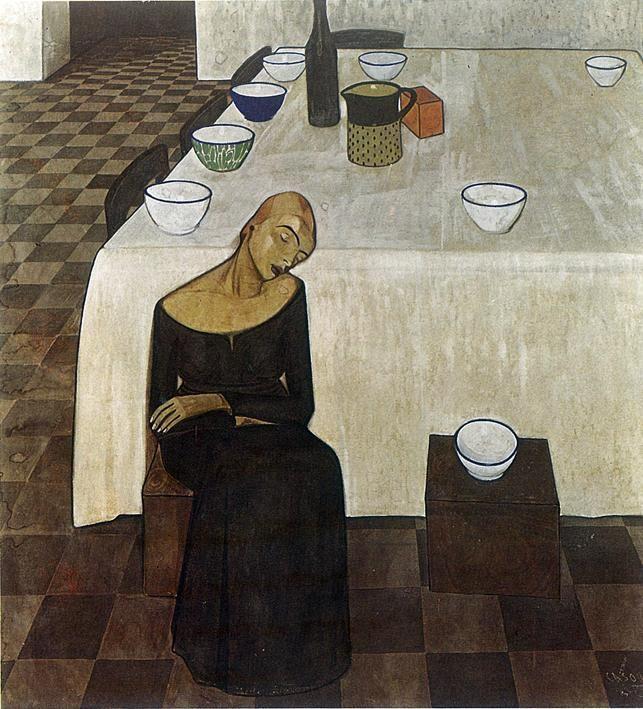 Una donna (L'attesa) Felice Casorati tempera su tela 1919 137x127 cm