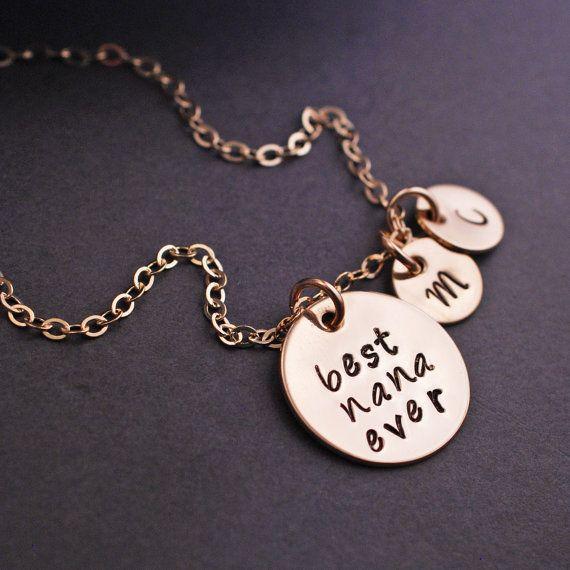 Best Nana Ever Necklace, Gold Nana Necklace, Personalized Nana Gift by georgiedesigns