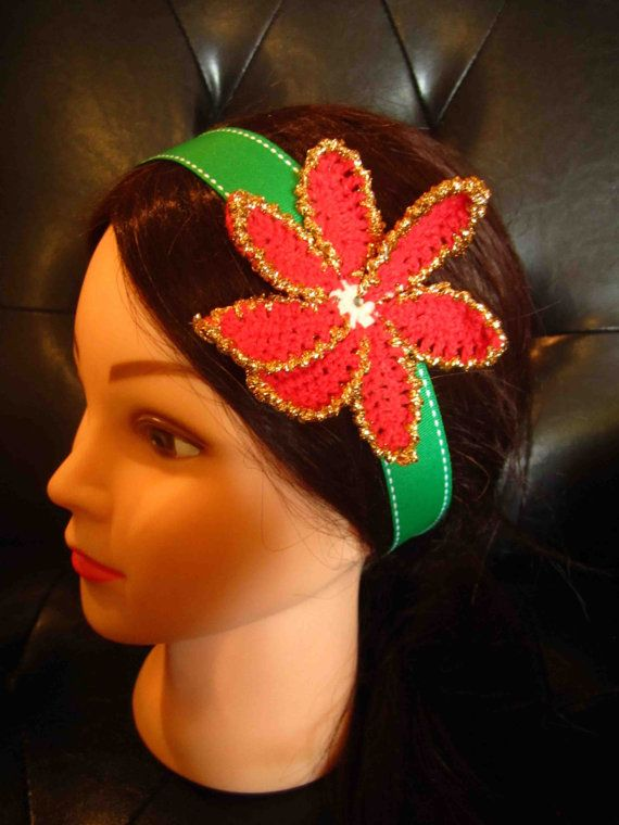 Headband with red and gold crochet flower by WhiteBea on Etsy, $12.00
