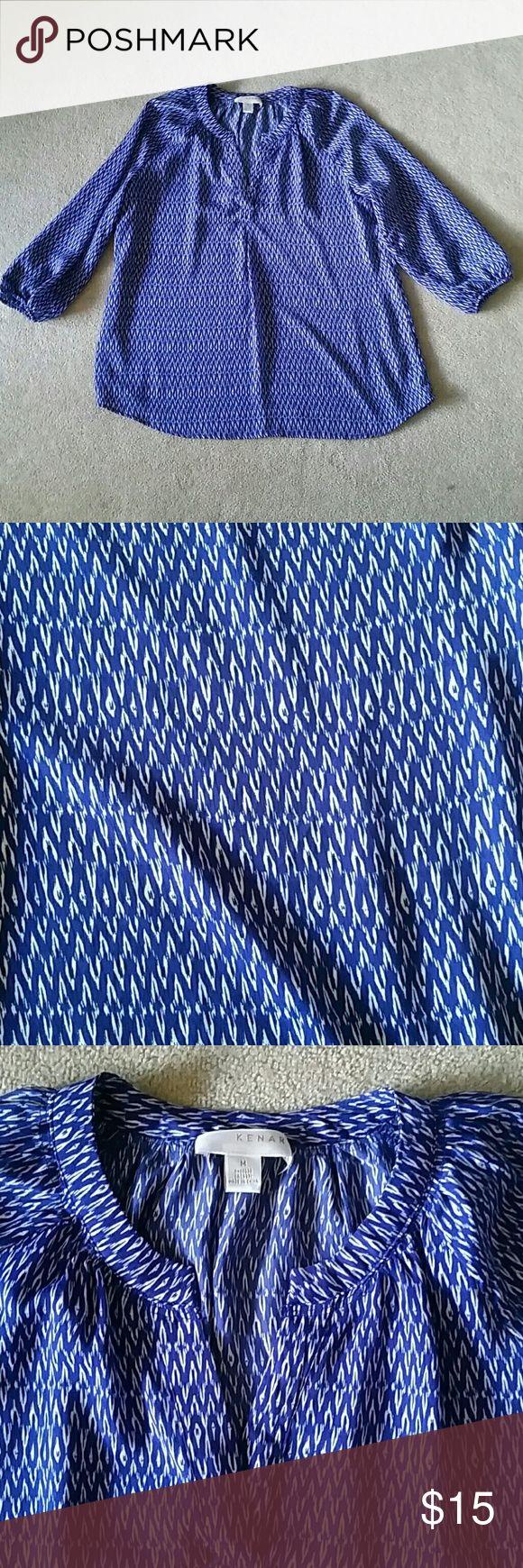 3/4 sleeve blouse Fun print, loose flowing blouse Kenar Tops Blouses