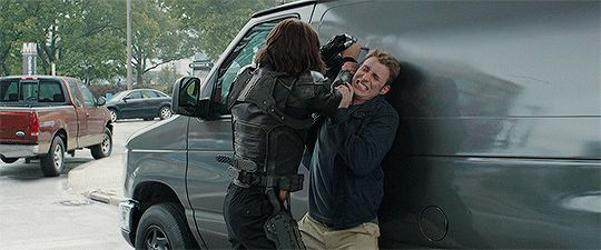 Steve Rogers and Bucky Barnes || Captain America: The Winter Soldier || gif
