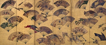 Painted Fans Mounted on a Screen  Early 17th century    Tawaraya Sotatsu , (Japanese, fl. ca. 1600-1643)   Edo period     Color, gold, and silver over gold on paper  H: 170.2 W: 378.5 cm   Japan .