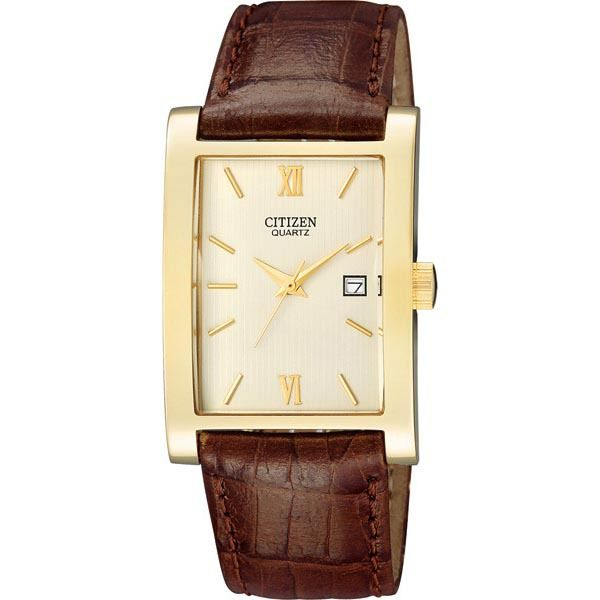 WATCH CITIZEN RECTANGLE DIAL STAINLESS STEEL GOLD PLATED CASE DATE BROWN LEATHER STRAP 50M - Jons Family Jewellers
