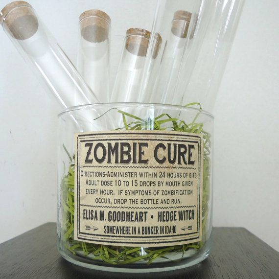 Zombie Halloween party favors glass test tubes with cork