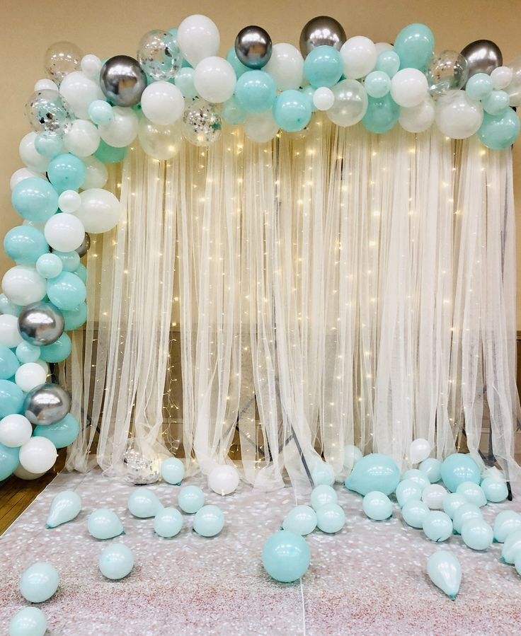 Teal And Silver Photo Background Tiffany Blue Birthday Party Sweet Sixteen Decorations Sweet 16 Party Decorations