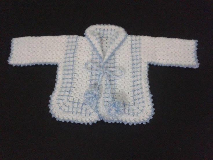 Lindo casaquinho de crochê.  Faça sua encomenda, totalmente artesanal, trabalho de ótima qualidade, feito pela vovó.  3 a 6 meses  Aceitamos outros tamanhos e cores.  Tamanho maior que anunciado, valor a negociar.