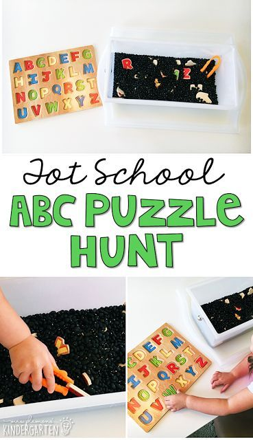We LOVE this alphabet puzzle hunt sensory bin. Great for tot school, preschool, or even kindergarten!
