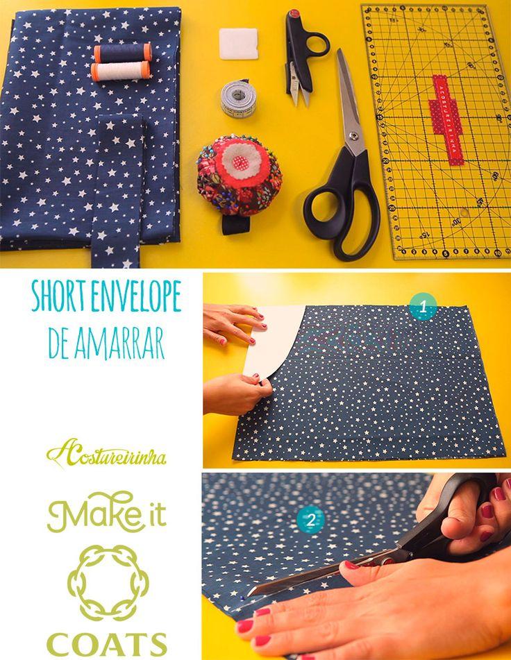 Short Envelope de Amarrar Passo a passo PAP A Costureirinha Tutorial em Vídeo YouTube Coats Tecido azul marinho Estrelas