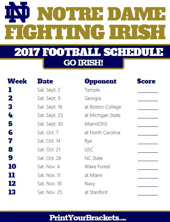 2017 Notre Dame Fighting Irish Football Schedule