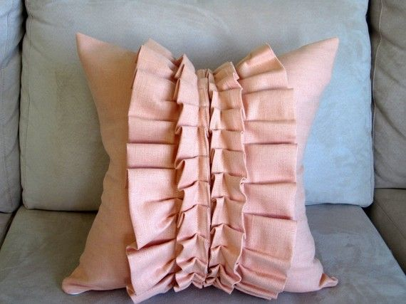 Peach ruffle - decorative pillow cover 16x16 inch - throw pillow - accent pillow The o jays ...