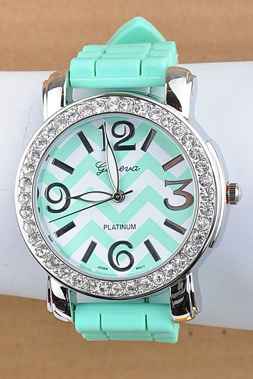 Mint Chevron watch