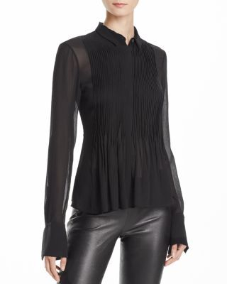 Theory Dionelle Pleated Silk Shirt | Bloomingdale's