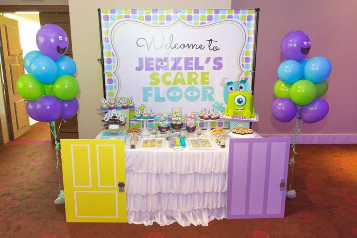 Cool dessert table at a Monsters Inc. birthday party! See more party planning ideas at CatchMyParty.com!