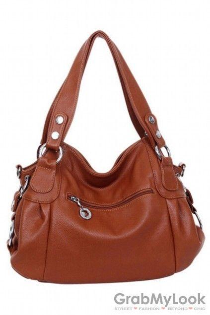 GrabMyLook  Vintage Faux Leather Shoulder Hobo Handbag Bag