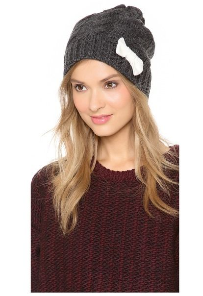 Cableknit Hat with Bow, super cute