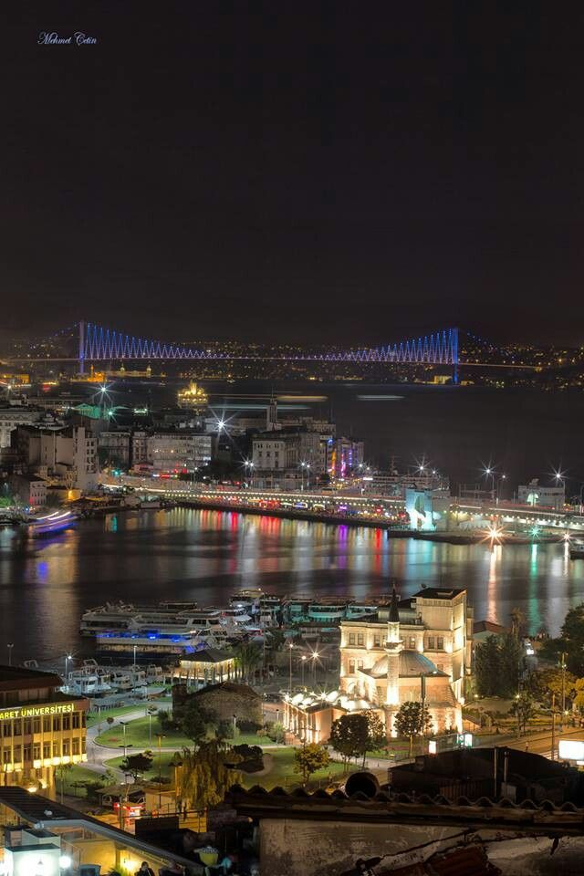 The Galata Bridge from overlooking the Galata Tower by Night, Istanbul.