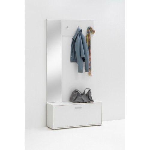 Stijlvol hal combinatie set van wit kleur met spiegel, kapstok en schoenenkast | StyleMeubels.nl