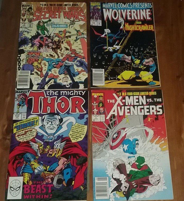 4 Marvel Comic Books Thor Wolverine Avengers X-Men Secret Wars Captain America