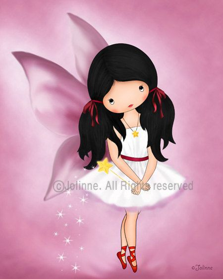 Pink fairy angel girl art print reproduction archival print nursery room decor pink girls wall art baby room artwork