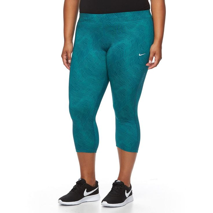 Plus Size Nike Essential Power Training Capri Workout Tights, Women's, Size: 2XL, Green Oth