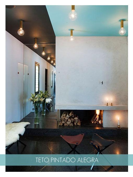blue ceiling + golden lamp