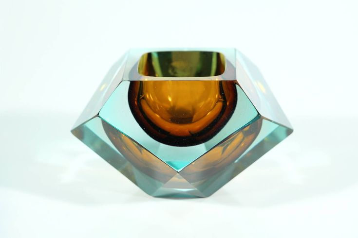 MURANO SOMMERSO ASHTRAY mandruzzato vintage italian glass faceted italy
