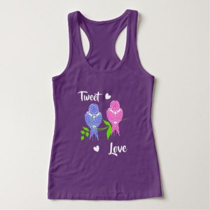 Pretty Lacey Patterned Birds Tweet Love Tank Top - pattern sample design template diy cyo customize