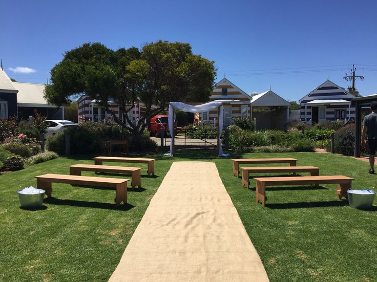 Middleton beach huts... Our timber essentials package with bench seats and wooden arbour