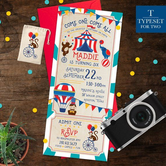 Circus Birthday Party Invitation Carnival Ticket Kit Theme