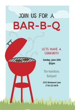 BBQ Cookout printable invitation template. Customize, add text and photos. Print, download, send online or order printed! #invitations #printable #diy #template #bbq #party