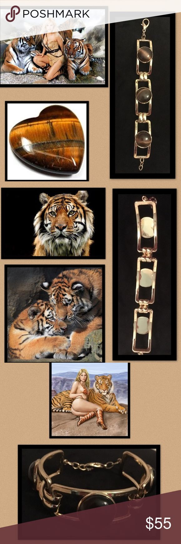 "🦋Tiger Eye Cabochon Bracelet Add easy sophistication with this remarkable gold tone rectangular bracelet•with round authentic tiger eye cabochon• Tiger's eye is a chatoyant gemstone member of the quartz group that is usually a metamorphic rock with a golden to red-brown colour and a silky lustre•dates back to the ancient Egyptians•Tiger's eye was also used by Roman soldiers as it was thought to keep them brave during battle. •7 1/2"" total length  •lobster claw clasp Jewelry Bracelets"