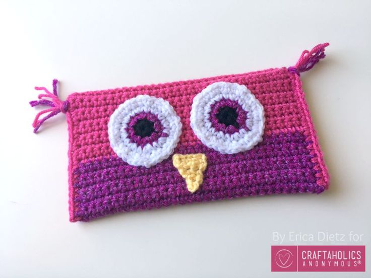 Craftaholics Anonymous® | Crocheted Owl Pencil Bag