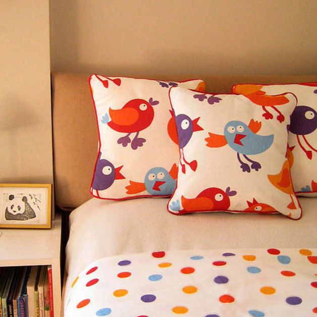 Cushions – Chicks / Birds Childrens Cushion with Dotty Back – a unique product by leonandcoco on DaWanda