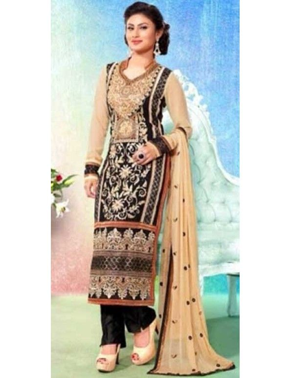 Naaz In Beige And Black Pakistani Style Salwar Suit - Formal Salwar Kameez - Salwar Kameez