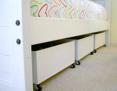 Under bed storage -very simple wooden box, paint, some casters and BOOM- extra storage!