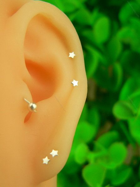 silver tiny heart/star/ cartilage earring, cartilage stud, helix stud,helix earring