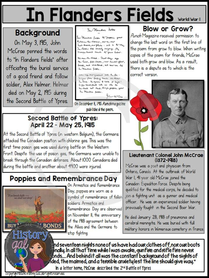 "John McCrae wrote ""In Flanders Fields"" in 1915 after the Second Battle of Ypres during World War 1. Students will learn about the poem and the author and then analyze the poem. This analysis ties in perfectly to a World War I lesson, a Remembrance Day lesson, or a Veterans Day lesson. This 10 page resource is great for your 6th, 7th, 8th, 9th, and 10th grade classroom or homeschool students. Middle School & High School Approved! $"