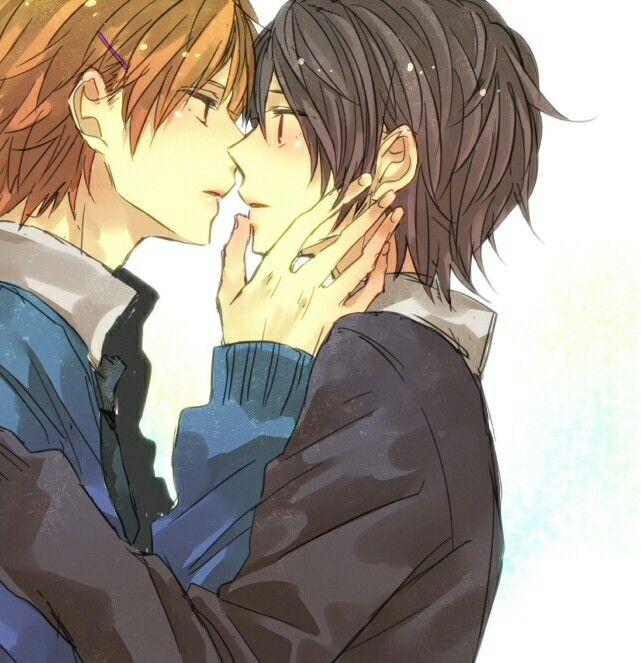 Аниме картинка поцелуй двух парней