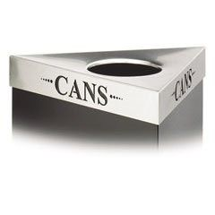 "Safco 9560CZ Trifecta Waste Receptacle Lid, Laser Cut ""CANS"" Inscription, Stainless Steel"