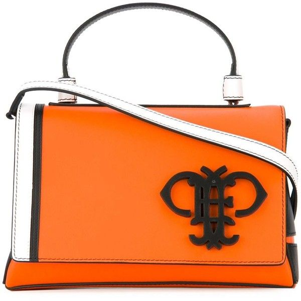 Emilio Pucci Logo Plaque Foldover Tote ($646) ❤ liked on Polyvore featuring bags, handbags, tote bags, foldable tote bag, orange tote bag, fold over purse, fold over tote bag and orange tote