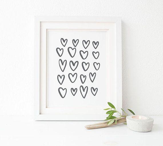 harten afdrukken / / love afdrukken / / zwart-wit minimalistische wall decor / / romantisch muur kunst / / hand geïllustreerde afdrukken / / harten illustratie