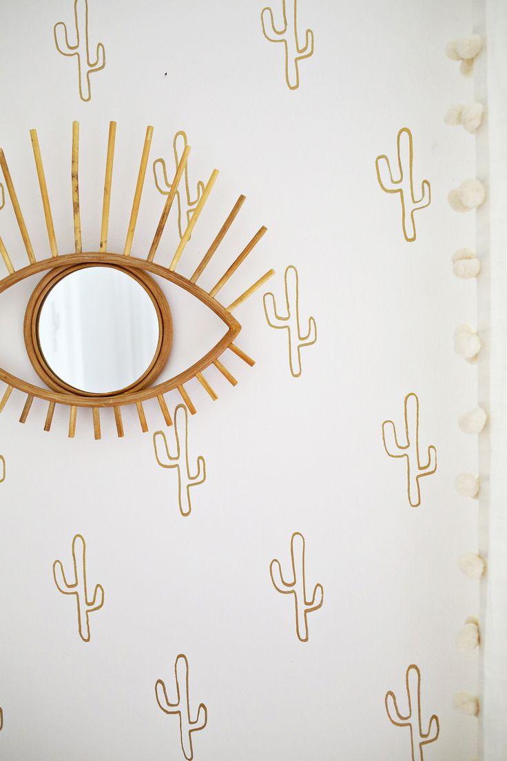 Gold Cactus Wallpaper DIY - super cheap using a gold foil